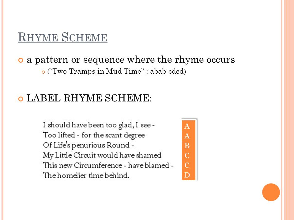 Rhyme Scheme a pattern or sequence where the rhyme occurs