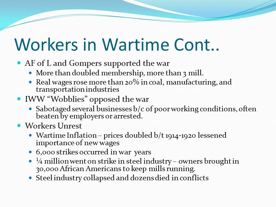 Workers in Wartime Cont..