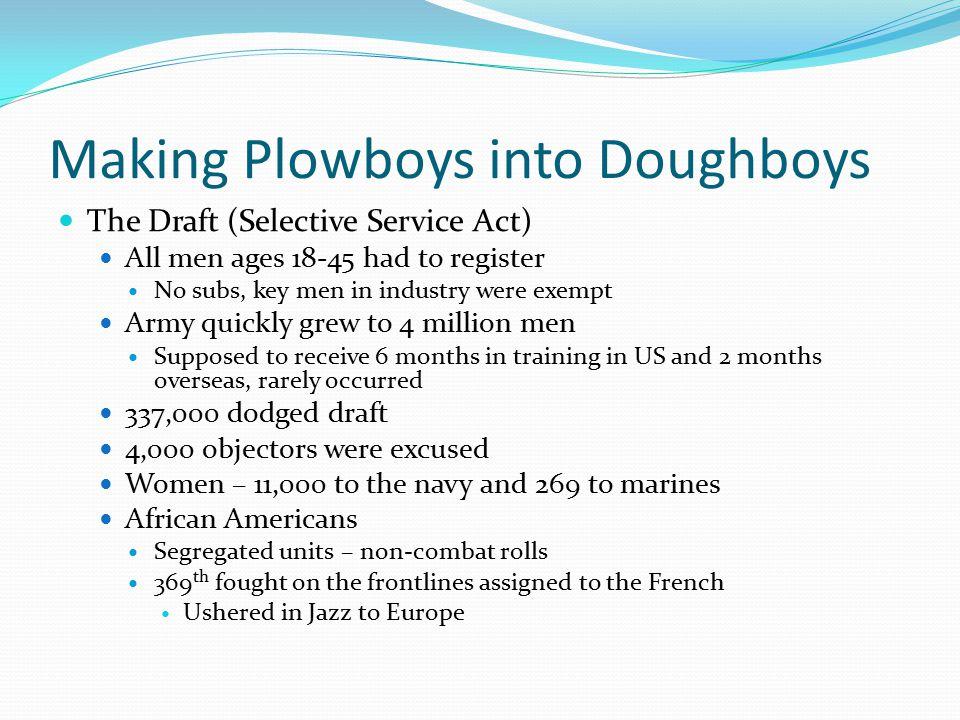 Making Plowboys into Doughboys