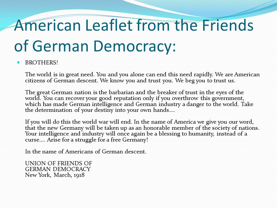 American Leaflet from the Friends of German Democracy: