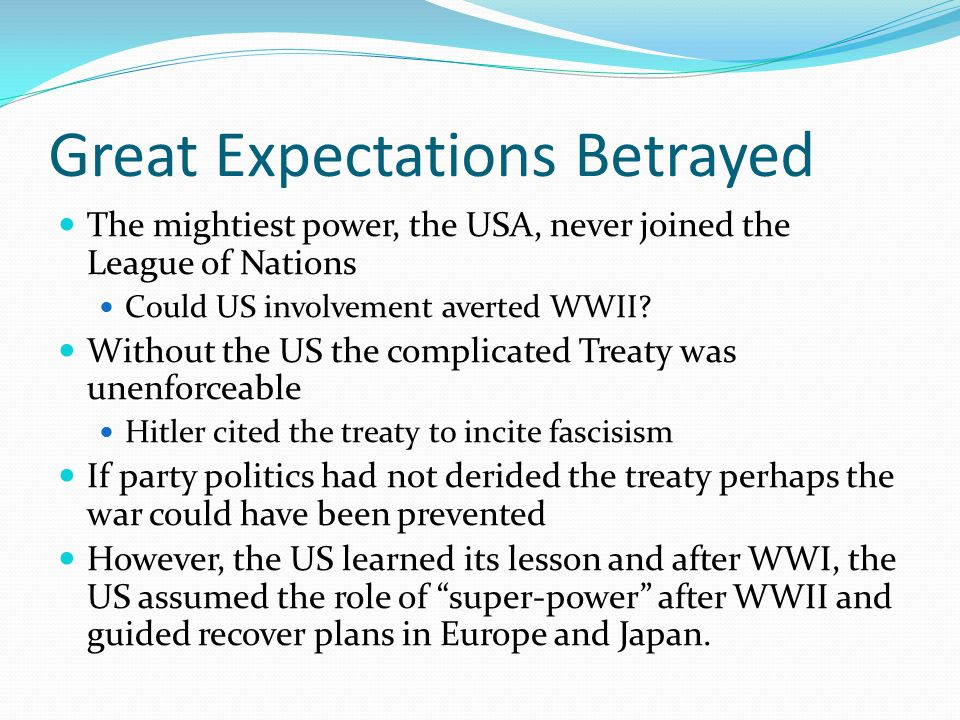 Great Expectations Betrayed