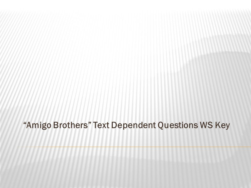Amigo Brothers Text Dependent Questions WS Key