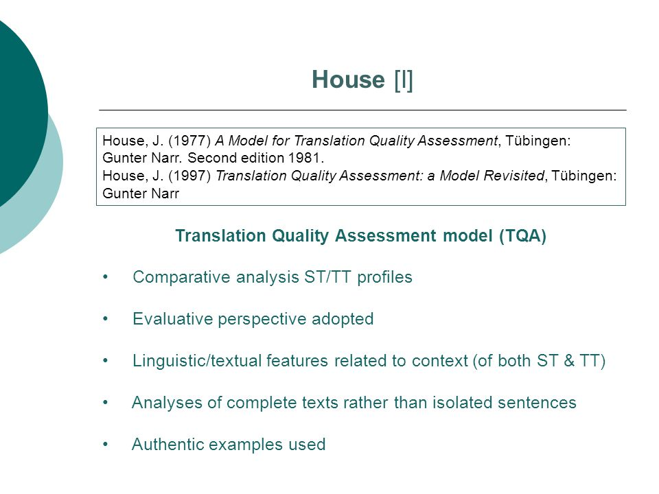 Translation Quality Assessment model (TQA)
