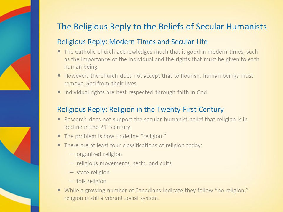 The Religious Reply to the Beliefs of Secular Humanists