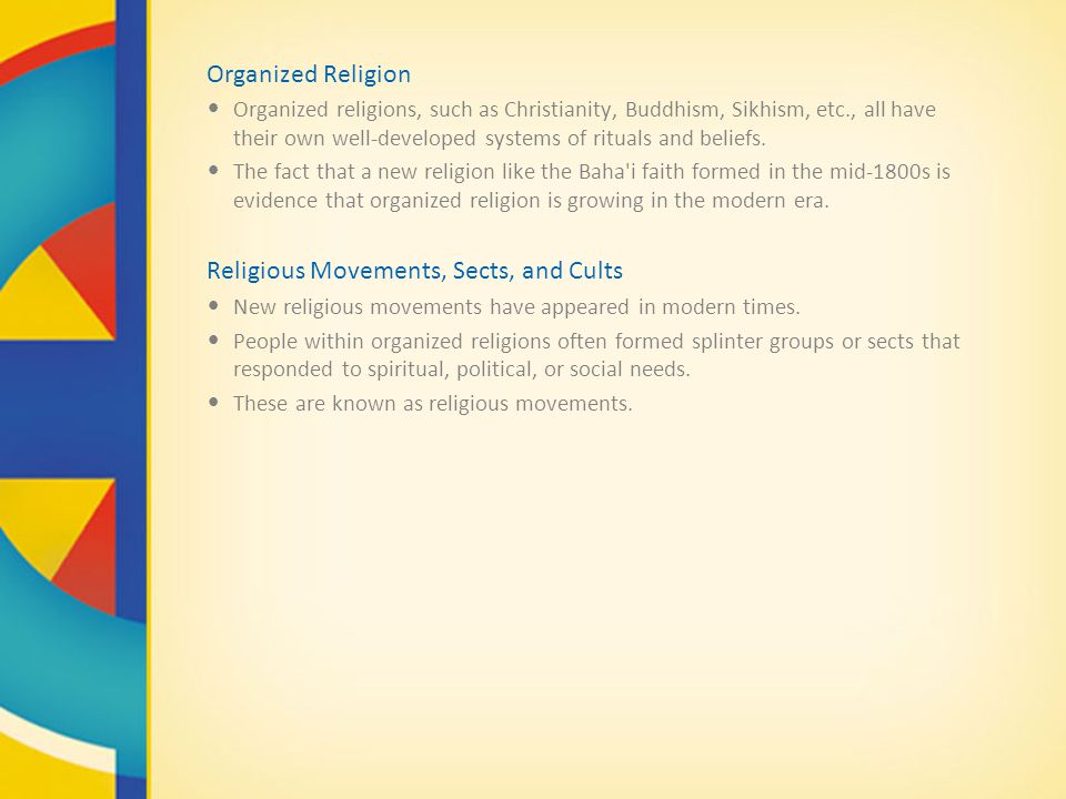 Religious Movements, Sects, and Cults