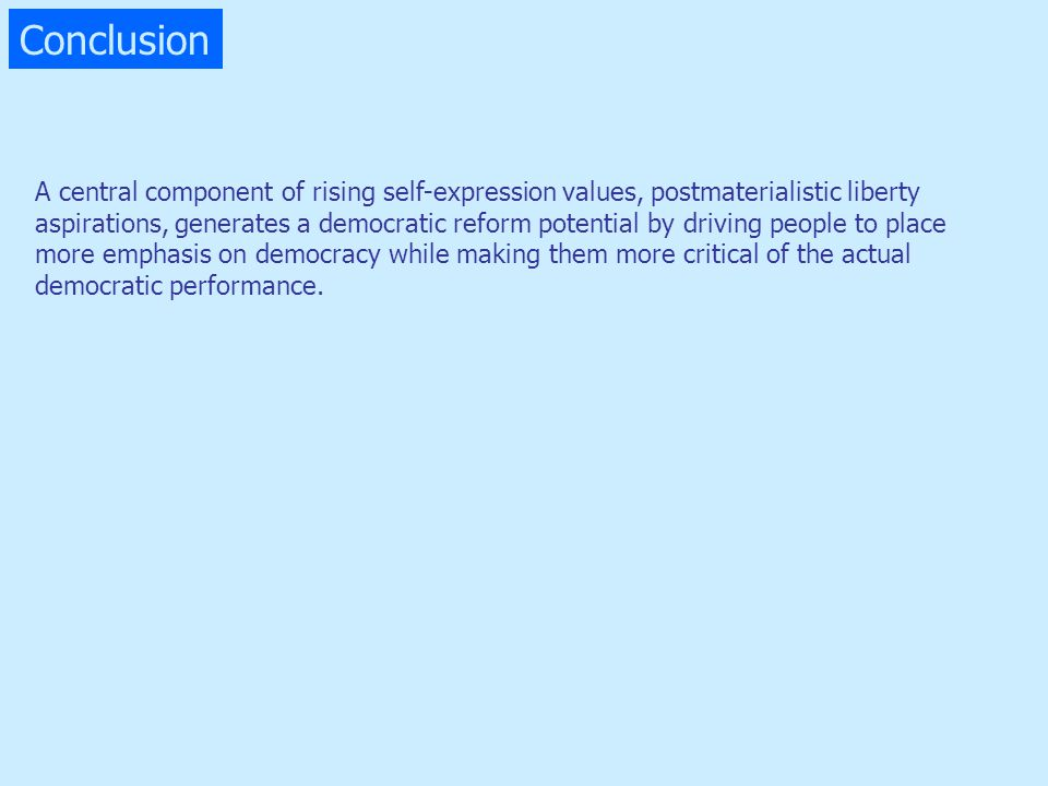 Conclusion A central component of rising self-expression values, postmaterialistic liberty.