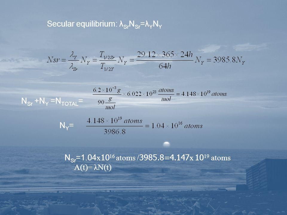 Secular equilibrium: λSrNSr=λYNY