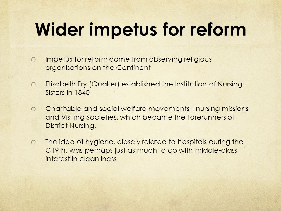 Wider impetus for reform
