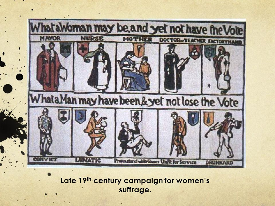 Late 19th century campaign for women's suffrage.