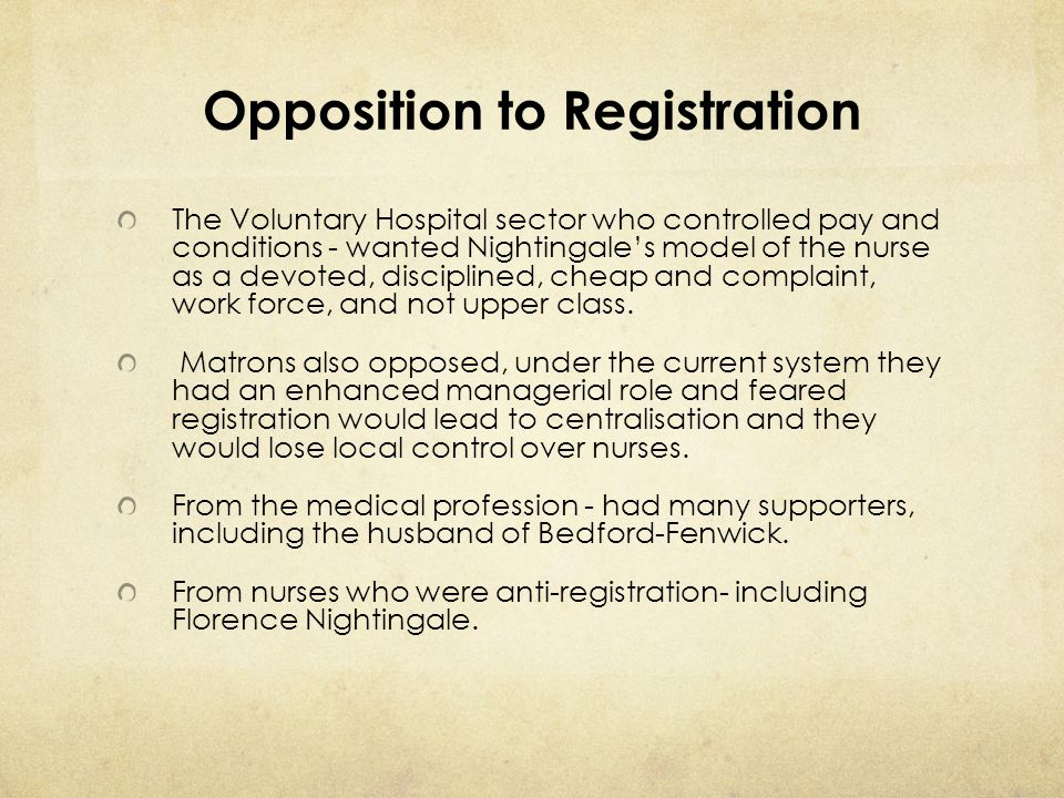 Opposition to Registration