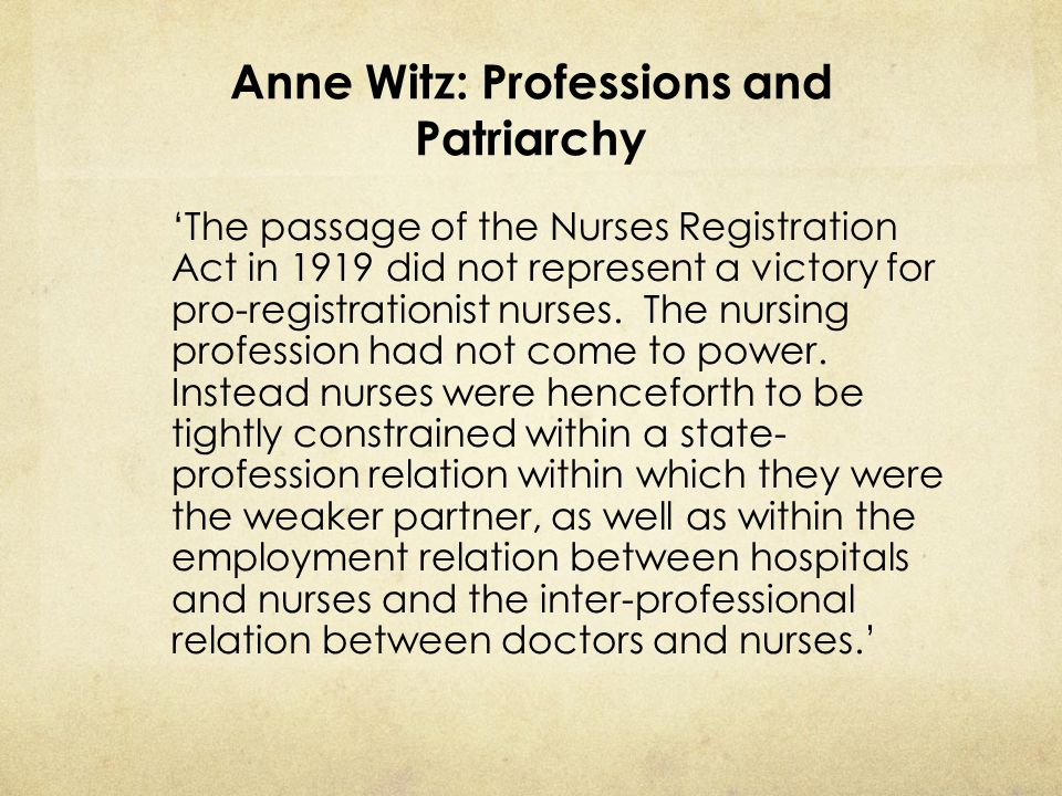 Anne Witz: Professions and Patriarchy