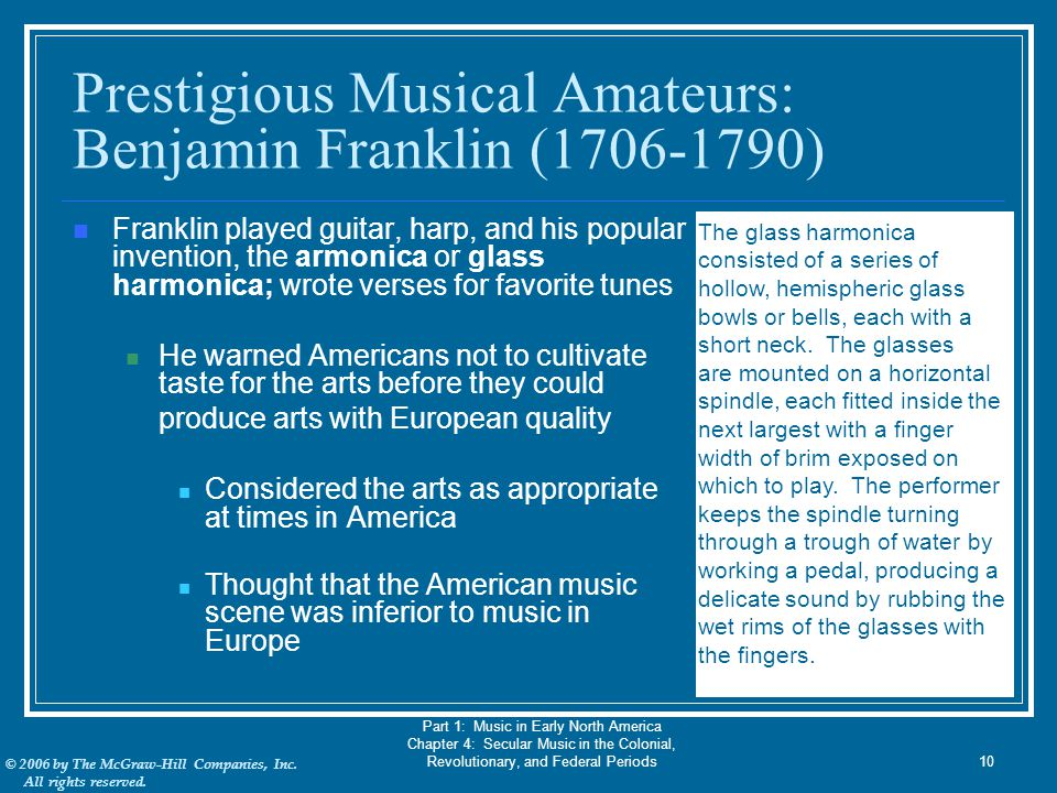 Prestigious Musical Amateurs: Benjamin Franklin (1706-1790)