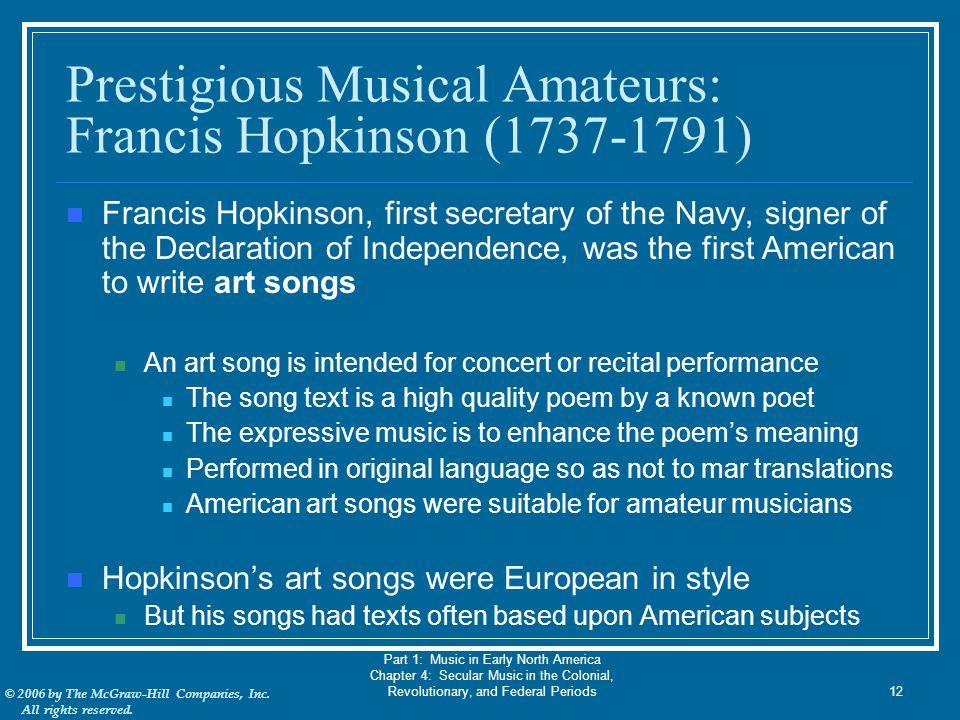 Prestigious Musical Amateurs: Francis Hopkinson (1737-1791)