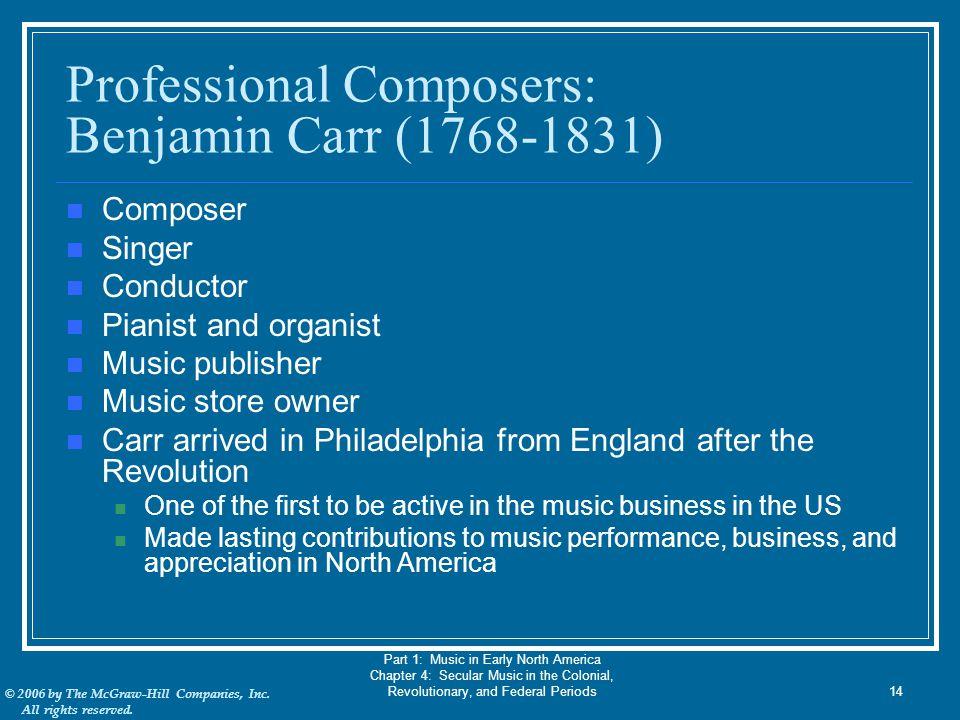Professional Composers: Benjamin Carr (1768-1831)