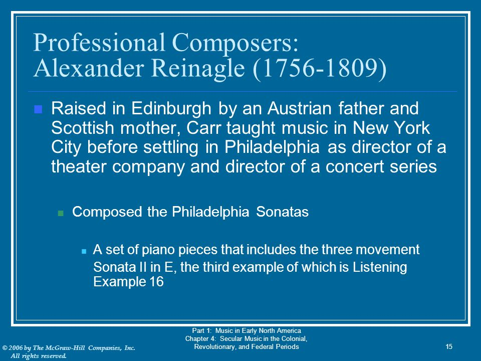 Professional Composers: Alexander Reinagle (1756-1809)