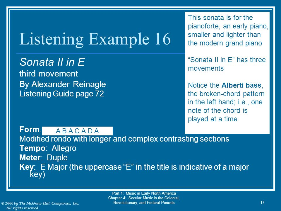 Listening Example 16 Sonata II in E third movement