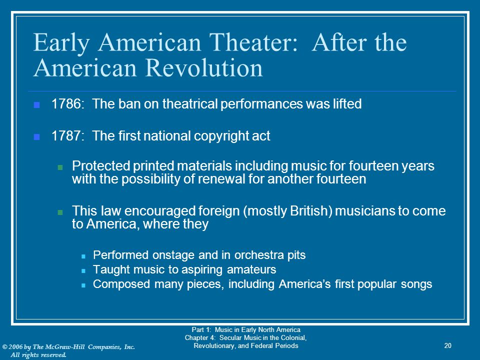Early American Theater: After the American Revolution