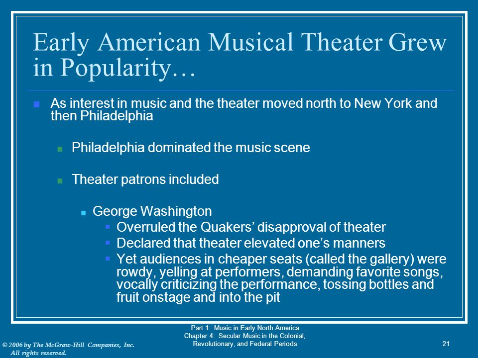 Early American Musical Theater Grew in Popularity…
