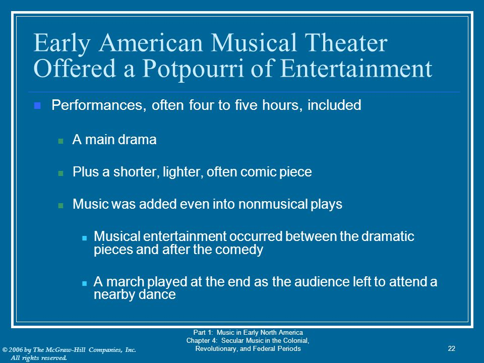 Early American Musical Theater Offered a Potpourri of Entertainment
