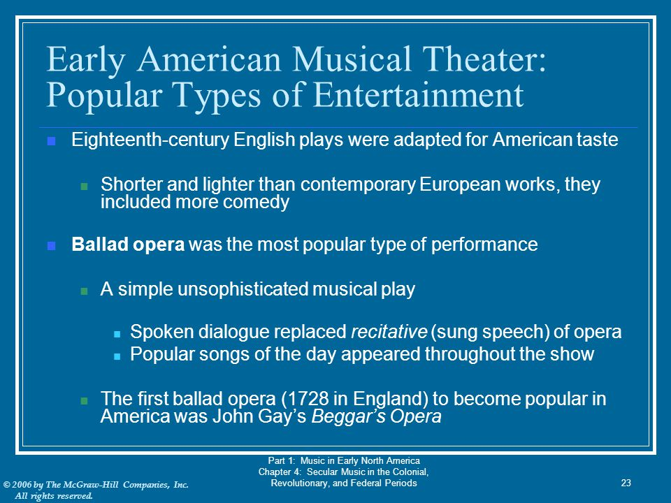 Early American Musical Theater: Popular Types of Entertainment