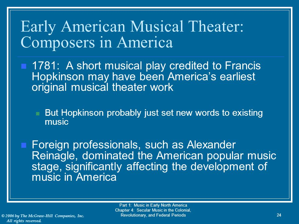 Early American Musical Theater: Composers in America