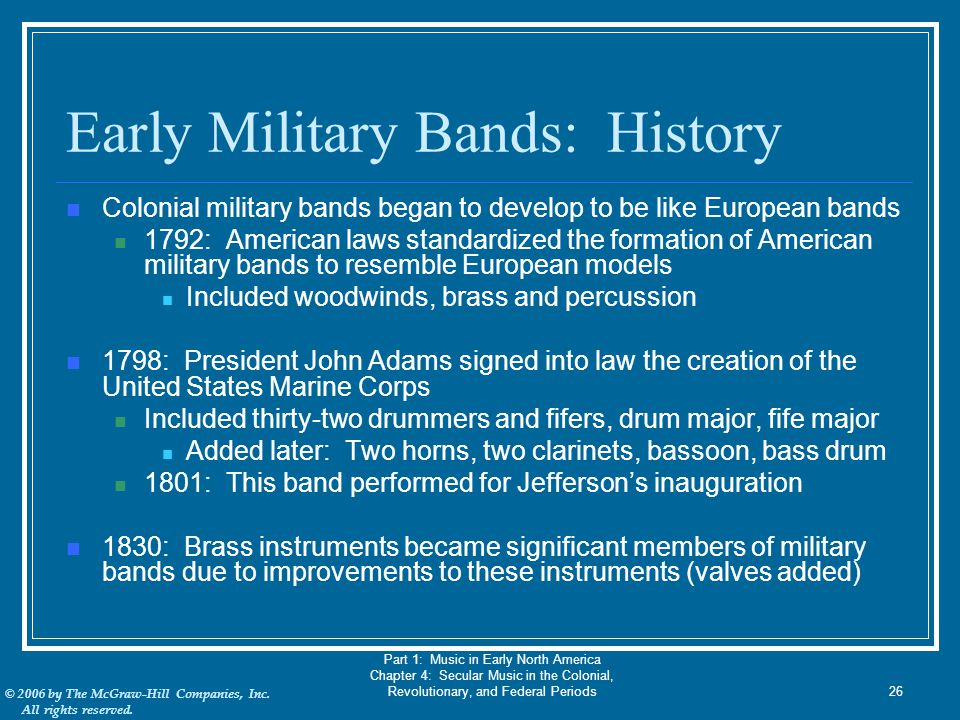 Early Military Bands: History