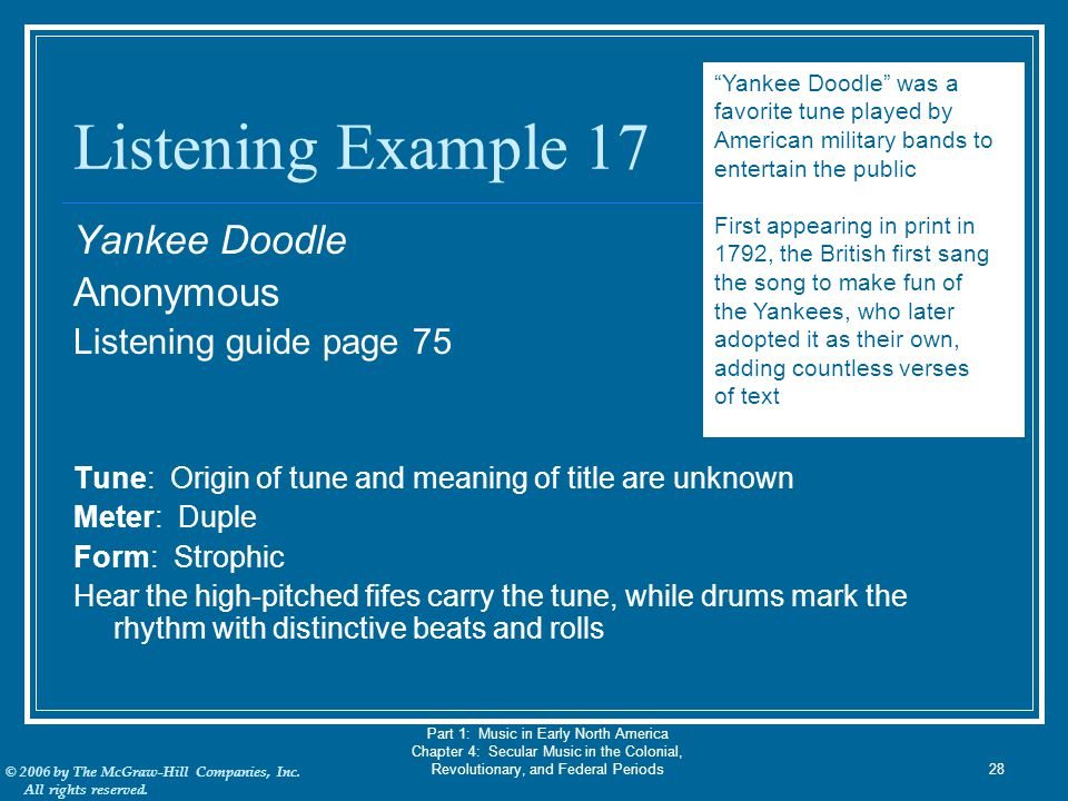 Listening Example 17 Yankee Doodle Anonymous Listening guide page 75