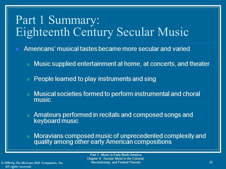 Part 1 Summary: Eighteenth Century Secular Music
