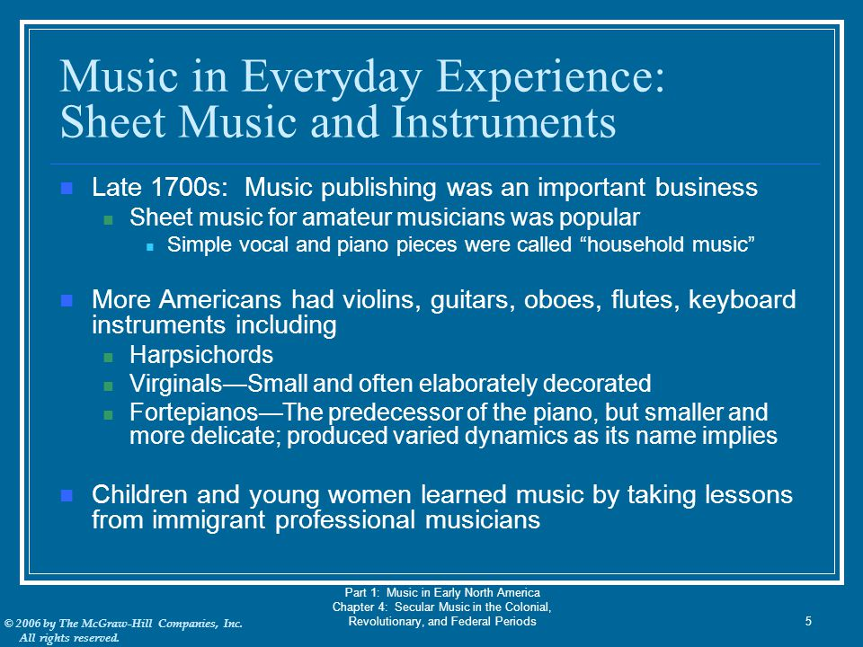 Music in Everyday Experience: Sheet Music and Instruments