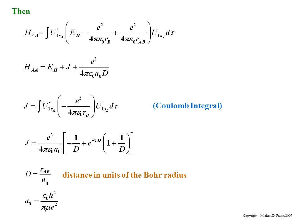distance in units of the Bohr radius