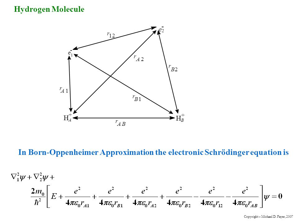 Hydrogen Molecule e. 1. - r. 2. A. B. H. + In Born-Oppenheimer Approximation the electronic Schrödinger equation is.