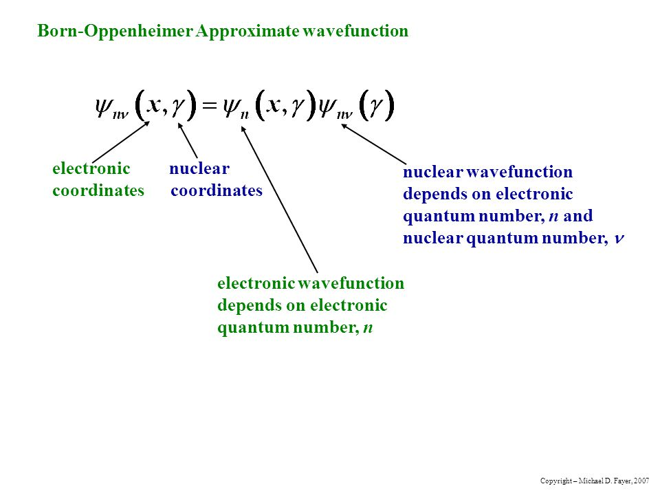 Born-Oppenheimer Approximate wavefunction