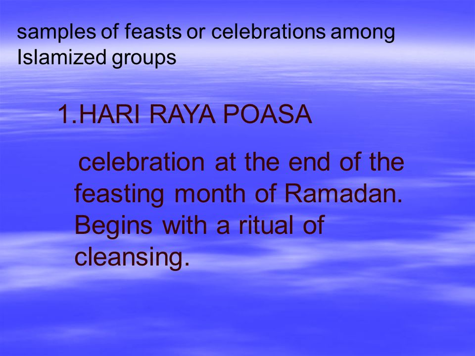 samples of feasts or celebrations among Islamized groups