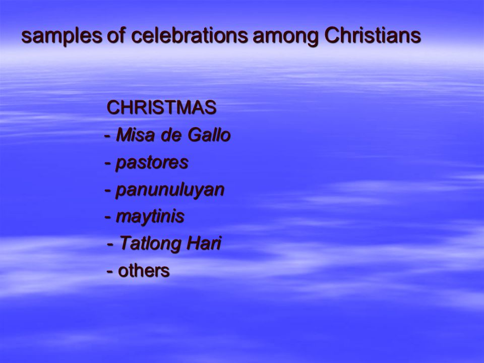 samples of celebrations among Christians