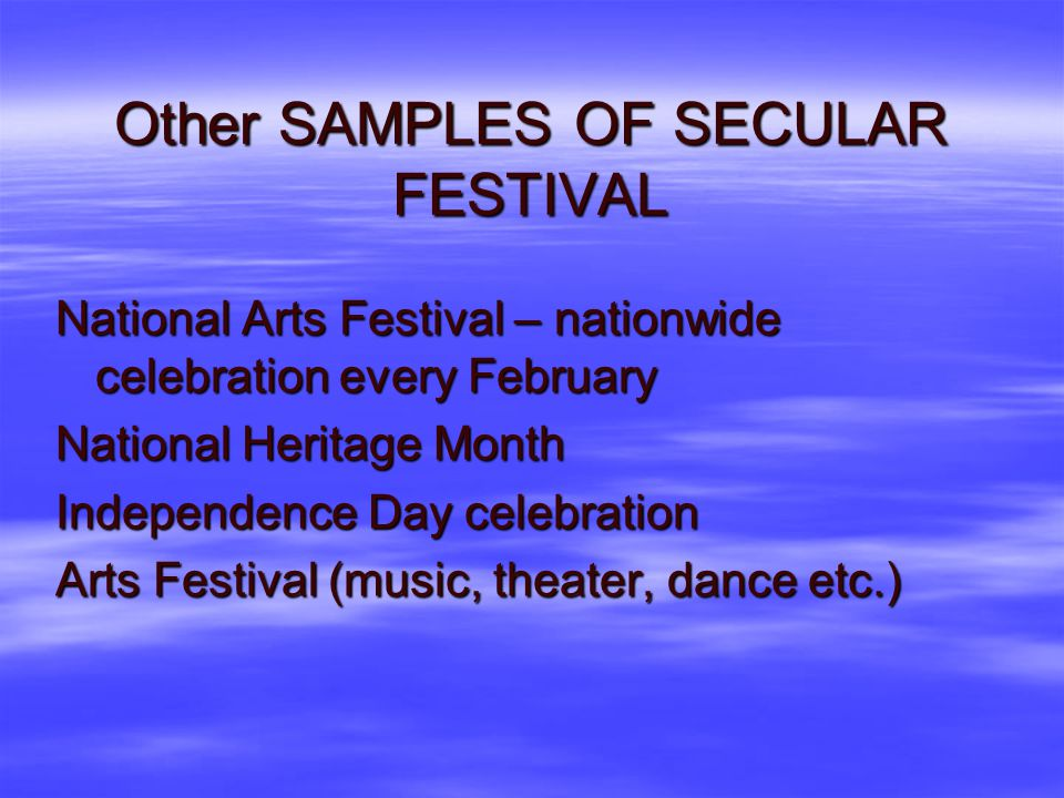 Other SAMPLES OF SECULAR FESTIVAL