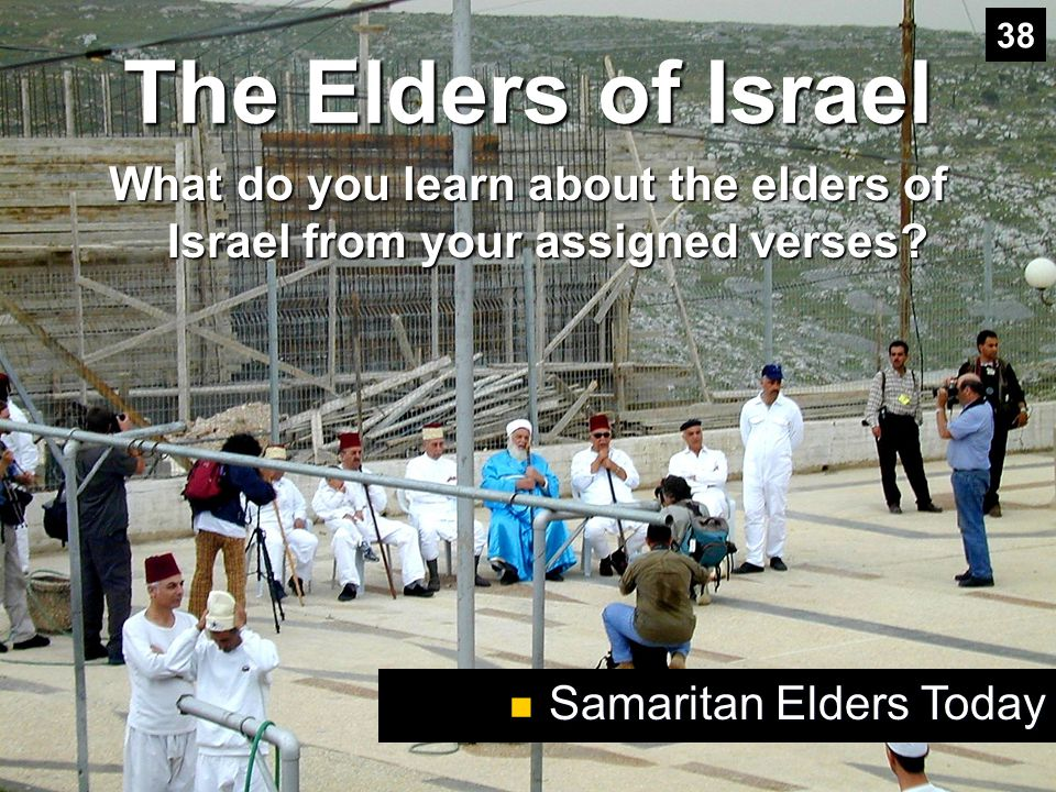38 The Elders of Israel. What do you learn about the elders of Israel from your assigned verses.