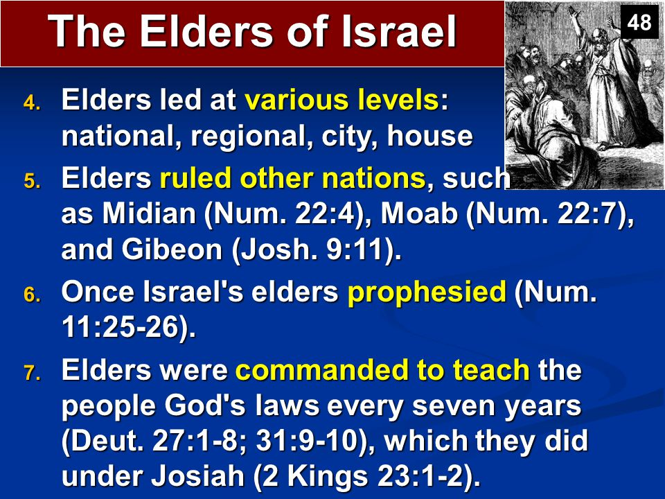 The Elders of Israel 48. Elders led at various levels: national, regional, city, house.