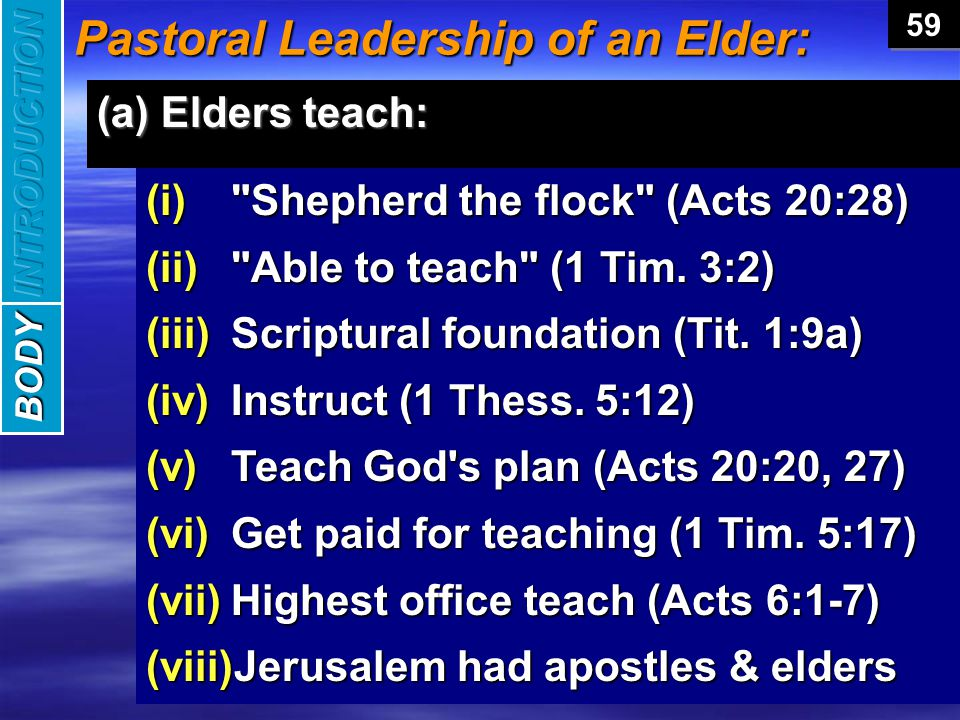 Pastoral Leadership of an Elder: