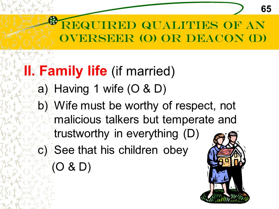Required Qualities of an Overseer (O) or Deacon (D)