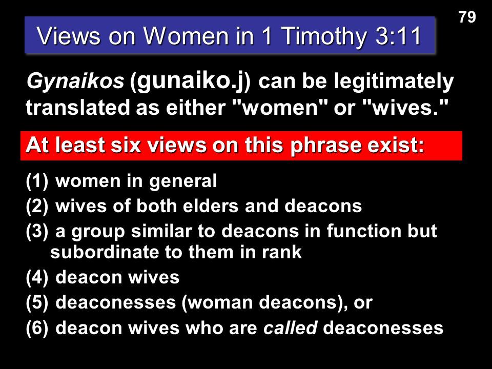 Views on Women in 1 Timothy 3:11