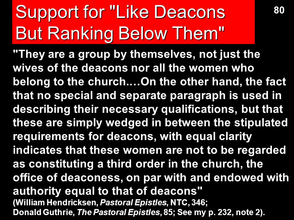 Support for Like Deacons But Ranking Below Them