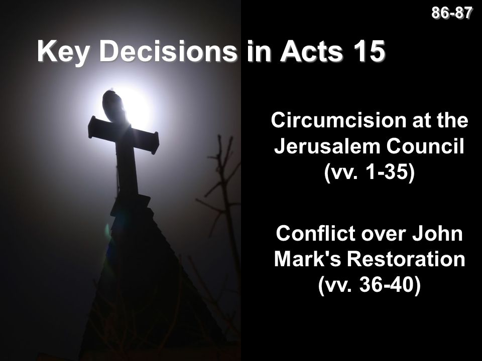 86-87 Key Decisions in Acts 15. Circumcision at the Jerusalem Council (vv.