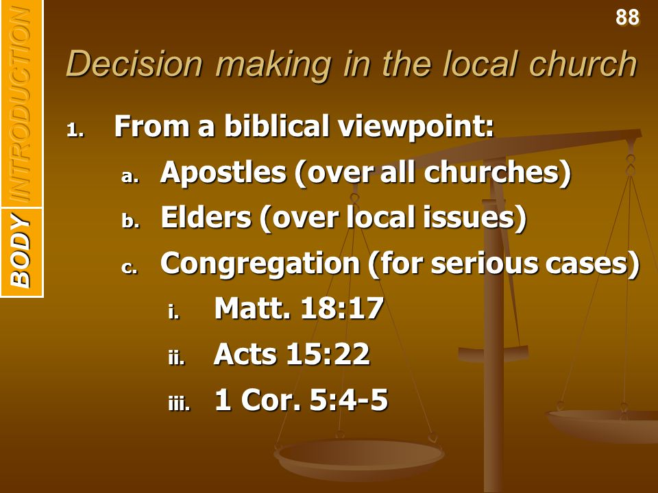 Decision making in the local church