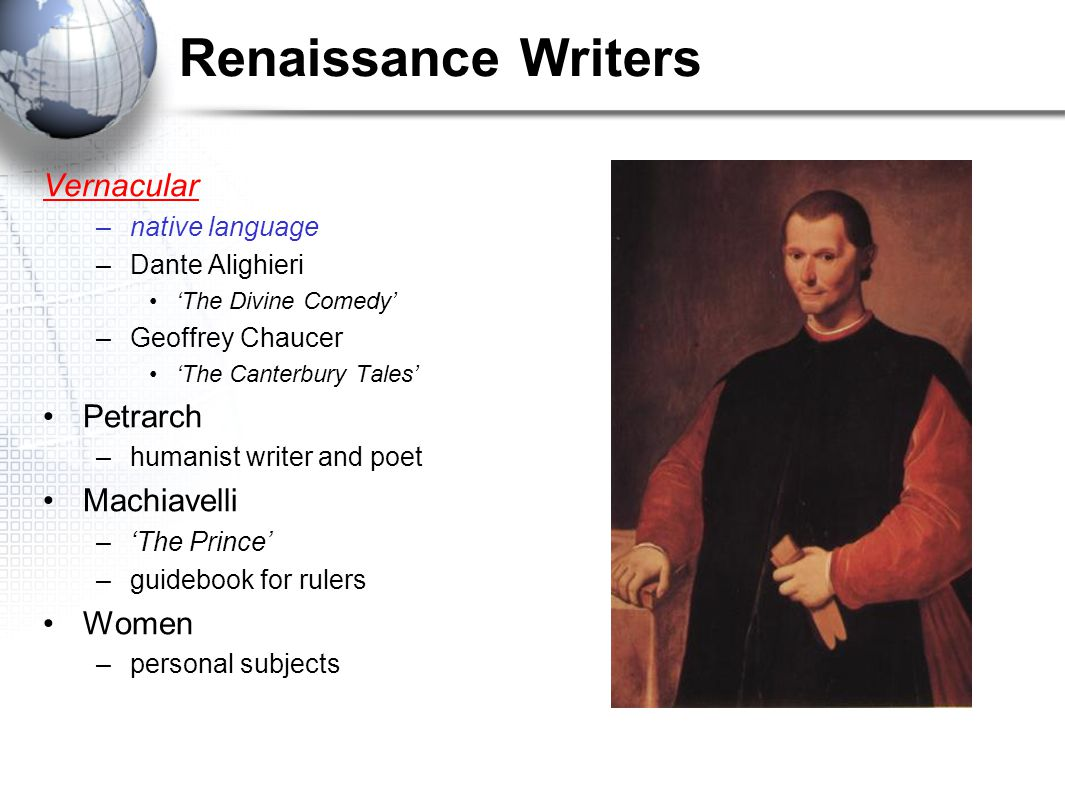 Renaissance Writers Vernacular Petrarch Machiavelli Women