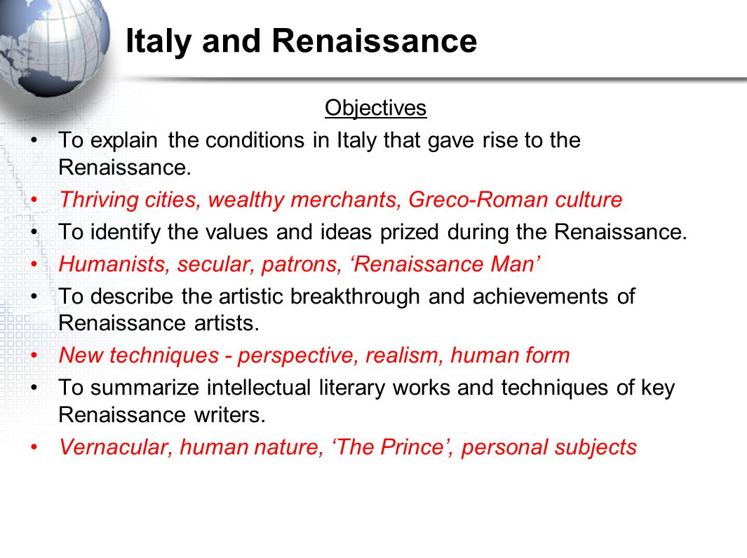 Italy and Renaissance Objectives