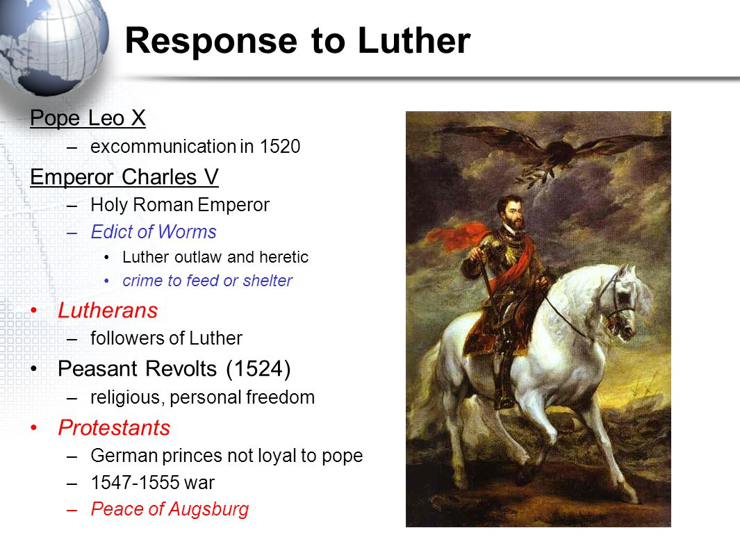 Response to Luther Pope Leo X Emperor Charles V Lutherans