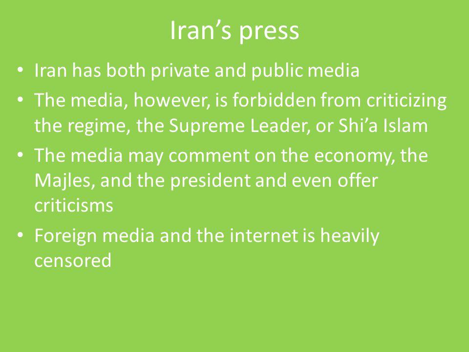 Iran's press Iran has both private and public media