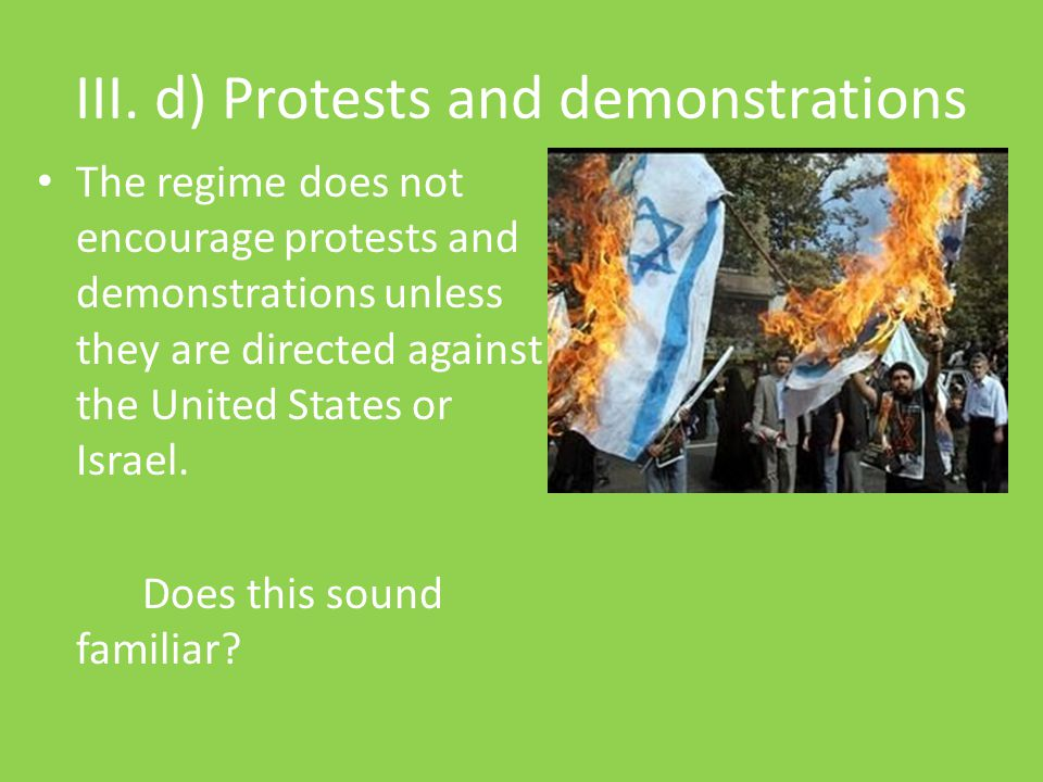 III. d) Protests and demonstrations
