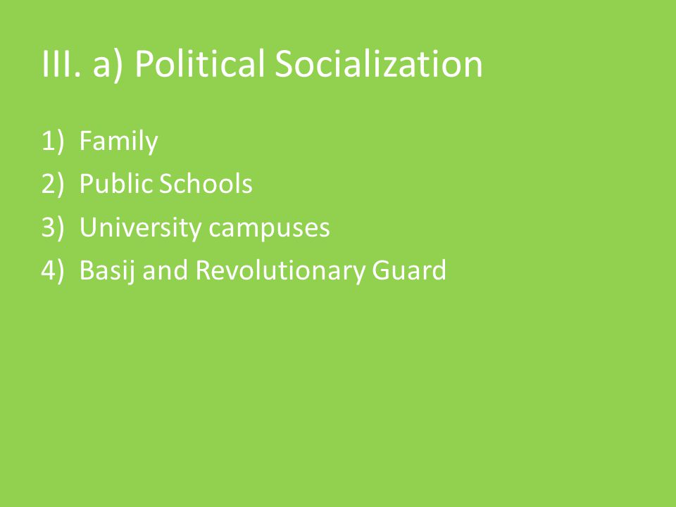 III. a) Political Socialization