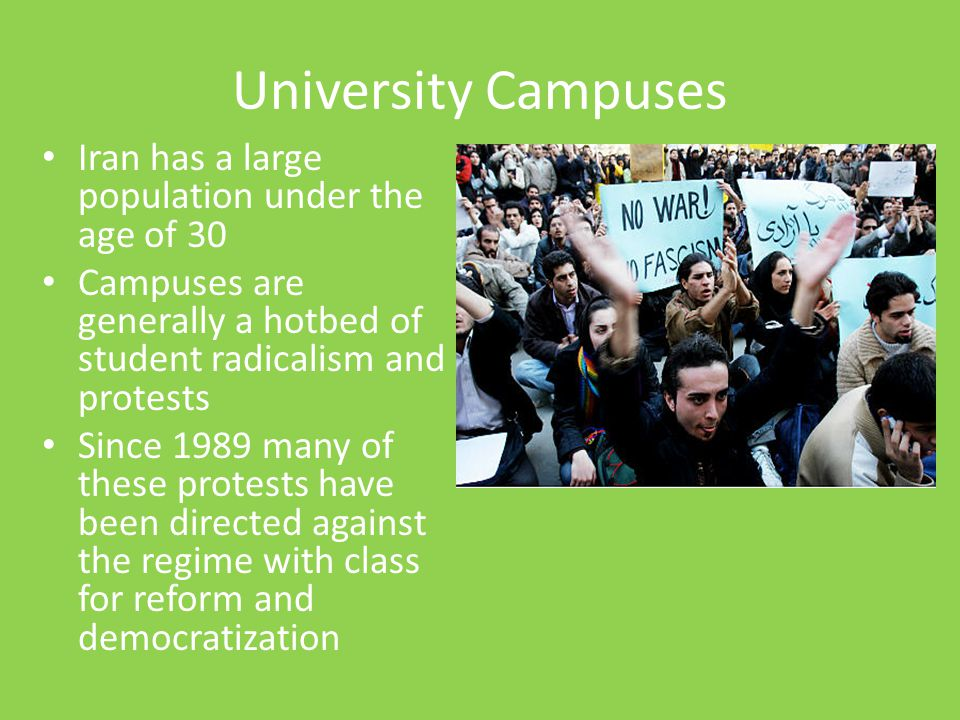 University Campuses Iran has a large population under the age of 30